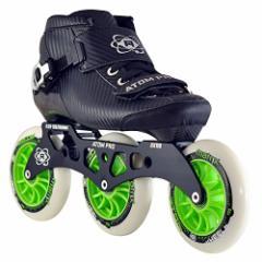 インラインスケートAtom Pro Outdoor Inline Speed Skate 3 Wheel Package with Atom Matrix Wheels - 11.25