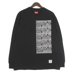 未使用品 シュプリーム SUPREME Tシャツ カットソー 国内正規 Stacked L/S Top 18SS WEEK2 新作 M 黒 ブラック  メンズ ベクトル【中古】