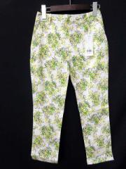 未使用品 ベルメゾン BELLE MAISON パンツ クロップド 小花柄 2 白 黄緑  レディース