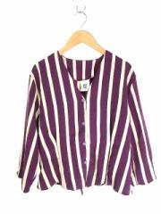 ニューファスト NEW FAST ブラウス シャツジャケット ストライプ柄 7分袖 40 紫 レディース