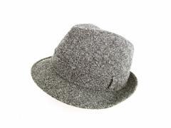 ハリスツイード Harris Tweed 中折れハット 帽子 ティアドロップ ウール 59 グレー メンズ ベクトル【中古】