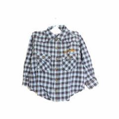ad54c70af7c79 子供服 キッズ ドロンコ DORONKO シャツ 長袖 チェック ウエスタン ネルシャツ ロゴ 刺繍 100 ブルー 青