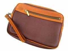 ラコステ LACOSTE セカンドバッグ クラッチ レザー ロゴ 鞄 かばん 茶 ブラウン Y92000 メンズ ベクトル【中古】