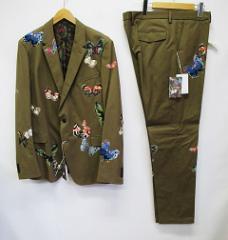 b2bfbf730a8ab 未使用品 バレンチノ VALENTINO スーツ 56 ベージュ パピヨン バタフライ 蝶刺繍 シングル 2ボタン 総