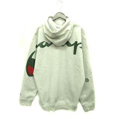 未使用品 シュプリーム SUPREME チャンピオン パーカー 18SS Champion Hooded Sweatshirt L Ash Grey グレー メンズ ベクトル【中古】