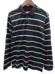 シュプリーム SUPREME ポロシャツ ボーダー 長袖 L 黒 /EK メンズ ベクトル【中古】
