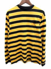 シュプリーム SUPREME Tシャツ カットソー ボーダー クルーネック 長袖 XL 黄色 黒 /YM メンズ ベクトル【中古】