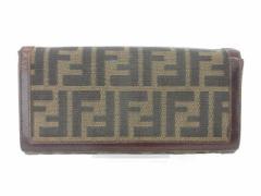 フェンディ FENDI ズッカ 長財布 二つ折り ベージュ /kt レディース ベクトル【中古】