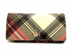 ヴィヴィアンウエストウッド Vivienne Westwood 長財布 二つ折り チェック ピンク ベージュ ブラック 黒 レディース ベクトル【中古】