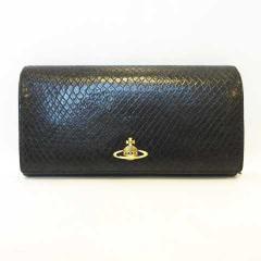 ヴィヴィアンウエストウッド Vivienne Westwood 長財布 型押し レザー ブラック 黒 MH11 レディース ベクトル【中古】