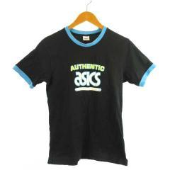 bc1533b3293bf アシックス asics 半袖 Tシャツ 丸首 綿100% ロゴ プリント ブラック 黒 160 AA1125