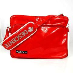 275ebaddeee8 デサント DESCENTE ショルダーバッグ スポーツバッグ エナメルバッグ レッド 赤 ホワイト 白