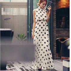 c_女性エレガント 水玉ボヘミアンシフォン ノースリーブロングドレス  大きいサイズ(ドット マキシ ワンピース カジュアル )