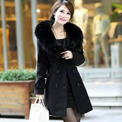 d_女性セクシーフェイクファーダブルウールコート  ジャケット スリム  レディ—スファッション 大きいサイズ 送料無料!