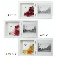 日本製 プリザーブドフラワー ピクチャーローズクロック M ホワイト