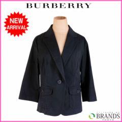 良品 人気 バーバリー BURBERRY ジャケット 1つボタン 7部袖 レディース ♯44サイズ テーラード シャドウストライプ【中古】 X7363