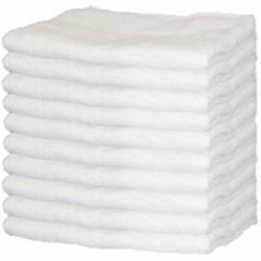 【まとめ買いセット】綿100% フェイスタオル 白10枚組 34×84cm