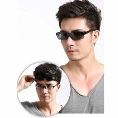 メガネの上から掛けられるオーバーサングラス オーバーグラス 偏光レンズ メンズ レディース 兼用 ブラック