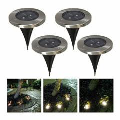 埋め込み式 LEDソーラーガーデンライト 4個セット 屋外照明/エクステリアライト (電球色)