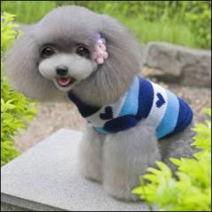 ドッグウエア Autumn Cloth 秋 冬 犬用服 ペット用品 Fashion stripe sweater Blue ブルー 青 セーター