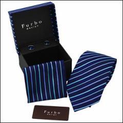 Furbo フルボ TK20130409-28-2 ネクタイ カフス チーフ 3点セット ストライプ ブルー系 青