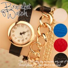 【メール便発送】腕時計 レディース アンティーク ブレスレット ウオッチ カジュアル ゴールド アクセサリー 2連 レザー ラップブレス チ