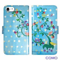 COMO コモ 機種専用手帳型 スマホケース com069-bl インコ iPhone Xperia Galaxy AQUOS ARROWS フリップ ブックレット ダイヤリー 可愛い