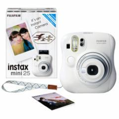 FUJIFILM インスタントカメラ チェキ instax mini25 ホワイト 純正ハンドストラップ付 1台