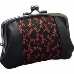 【送料無料】印伝トンボ柄 中ポケット付がま口財布 レッド KP017−04【代引不可】【ギフト館】
