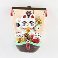 マグネット 宝船招き猫(白)【返品・交換・キャンセル不可】【逸品館】