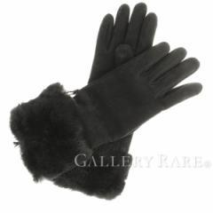 【中古】エルメス 手袋 サイズ7 ムートン×ファー×カシミア ブラック×シルバー金具 HERMES レディース グローブ【送料無料】