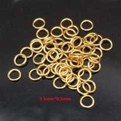 ゴールドステンレス316Lマルカン 3.5mm x 0.5mm 1個販売 サージカルステンレス316L ゴールドリング 〇カン 丸カン 丸環 丸リング ハンド