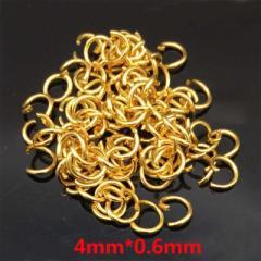 ゴールドステンレス316Lマルカン 4mm x 0.6mm 1個販売 サージカルステンレス316L ゴールドリング 〇カン 丸カン 丸環 丸リング ハンドメ