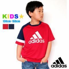 adidas Tシャツ 半袖 キッズ【マルカワ 韓国 ジュニア 男の子 女の子 子供服 トップス 半袖Tシャツ プリント レッド ネイビー エドウィン