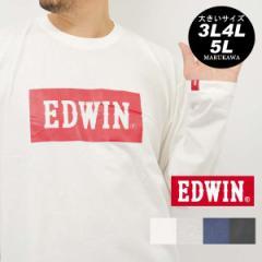 送料無料 ロングシャツ 大きいサイズ メンズ Tシャツ 長袖 EDWIN【キングサイズ/3L/4L/5L/マルカワ/エドウィン/プリント/ジーンズ/ジーパ