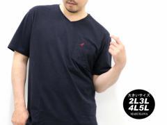送料無料 大きいサイズ 3L 4L 5L メンズ Tシャツ 半袖 Vネック KANGOL キングサイズ 2L 3L 4L 5L マルカワ カンゴール