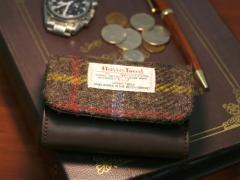 送料無料 Harris Tweed 小銭入れ コインケース 財布 ビジネス メンズ レディース シンプル 総柄 チェック キレイめ 通勤 通学 学生 大容