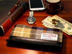 送料無料 Harris Tweed 長財布 財布 ビジネス メンズ レディース 大容量 通勤 通学 型押し ラウンドファスナー レザー