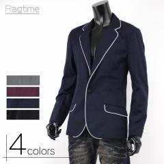 テーラードジャケット メンズ ブレザー サロン系 キレカジ系 パイピング 黒 ワイン ネイビー 紺 A250828-02