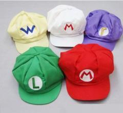 【超豪華5点セット! 】スーパーマリオ ルイージ ワリオ ワルイージ風のコスプレ帽子・キャップ 衣装