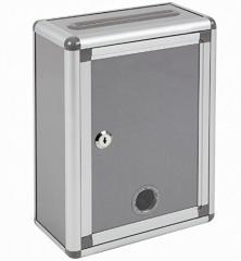 Aoakua 鍵付きBOX 募金箱 / 応募箱 / 投票箱 シルバーグレー W22cm
