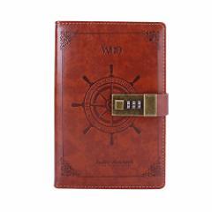 WillBo B6 鍵付き パスワード 日記帳 手帳 横書き ダイアリー 中世 航海風 秘密ノート 日付け表示なし