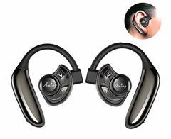 Bluetooth イヤホン 高音質 耳掛け式 ワイヤレスヘッドセット 片耳 両耳とも対応 ブルートゥース スポーツ イヤホン マイク内蔵 防汗 防