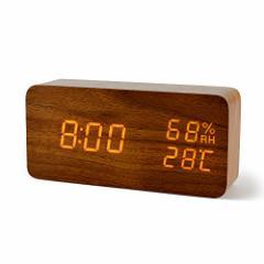 FiBiSonic デジタル 置き時計 LED 目覚し時計 大音量 アラーム 多機能 カレンダー付 温度湿度計 省エネ 音声感知 USB給電 電池 木目調 ナ