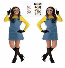 MONDEOLE(モンデオーレ) ミニオン 風 コスプレ 衣装セット (ミニオン風コスチューム+立体ゴーグル+手袋+ボディシール2枚セット)