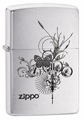 ZIPPO(ジッポー)24800 Butterfly-Artsy Design 蝶/チョウ ブラッシュクローム/つや消し ZIPPO ロゴ FULL SIZE ZIPPO LIGHTER/ジッポラ