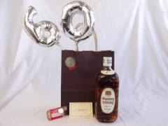 還暦シルバーバルーン60贈り物セット ウイスキー サントリー 角瓶 白 40゜700ml  メッセージカード付お歳暮 のし可