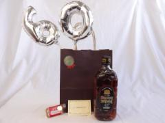 還暦シルバーバルーン60贈り物セット ウイスキー サントリー 角瓶 黒 43゜700ml メッセージカード付お歳暮 のし可