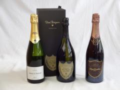 ドンペリ白飲み比べ3本セット スパークリングワインセット ギフトボックス付きドンペリ白・ロジャー グラート カヴァ ロゼ750ml(スペ
