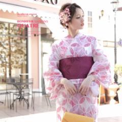 即納!【bonheur saisonsの浴衣3点セット】白/オフホワイト/ピンク/紫/七宝/綿/紅梅/かすれ/ボヌールセゾン